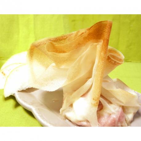 Aumônières jambon cru, chèvre et poires