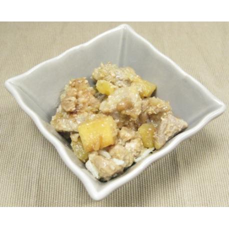 Porc à l'ananas, riz et sauce caramel