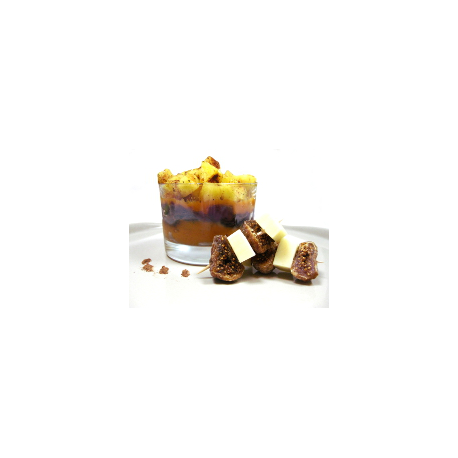 Verrine de patates douces, oignons rouges et pommes aux épices