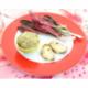 Salade de chicorée rouge, sauce au miel et crème de lentilles