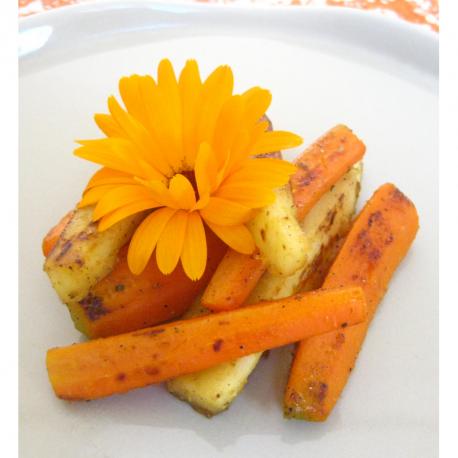 Panais et carottes poelés au miel
