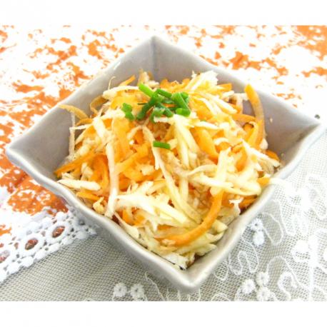 Panais et carottes râpés, sauce légère au citron et au miel