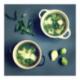 Soupe verte de choux de Bruxelles, épinards et ravioles