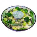 Green taboulé aux asperges, tahini à l'umeboshi