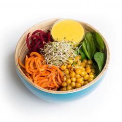 Salade Buddha Bowl végétarien aux pois chiches grillés, sauce mangue et citron vert XL (plat, 1personne)