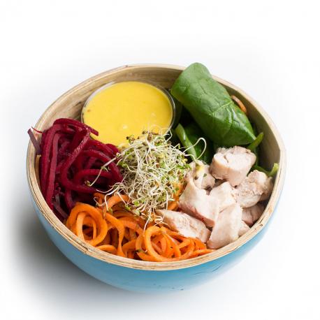 Salade Buddha Bowl végétarien aux pois chiches grillés, sauce mangue et citron vert (entrée, 1personne)