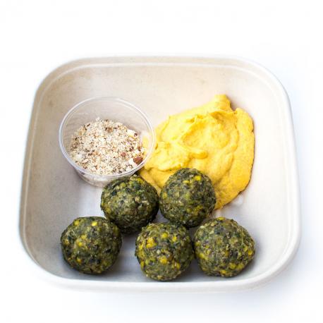 Boulettes de lentilles au kale, houmous de butternut (plat, 1personne)