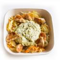 Mousse de pois cassés, émincé de légumes et poulet grillé (plat, 1personne)