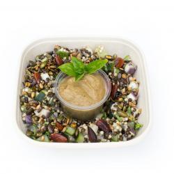 Salade de sarrasin et lentilles beluga aux courgettes et aubergines